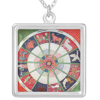 The Twelve Signs of the Zodiac and the Sun Silver Plated Necklace