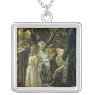 The Twelve-Year-Old Jesus in the Temple, 1879 Silver Plated Necklace