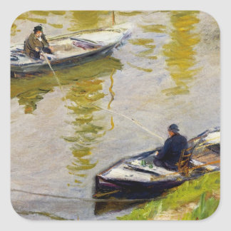The Two Anglers by Monet Square Sticker