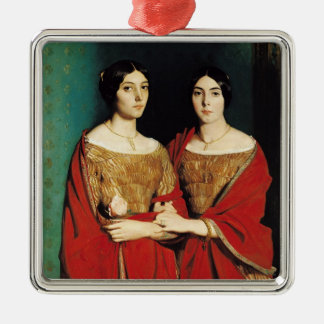 The Two Sisters, or Mesdemoiselles Chasseriau Silver-Colored Square Decoration
