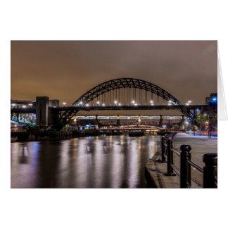The Tyne Bridges at Night Card