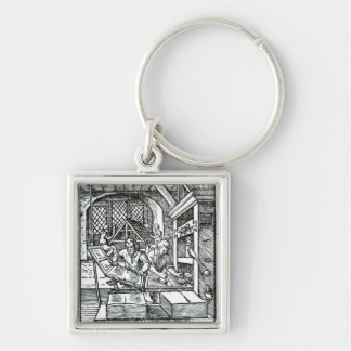 The Typographer, published by Hartman Schopper Silver-Colored Square Key Ring