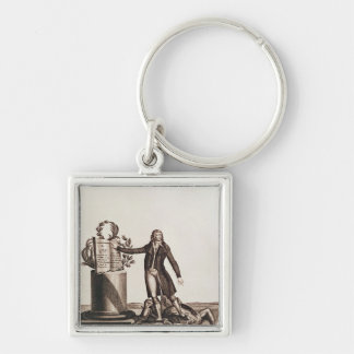 The Tyrant of the Revolution Crushed Silver-Colored Square Key Ring