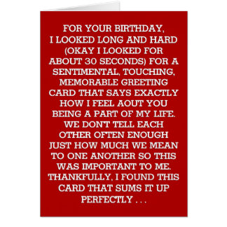 The Ultimate Sentimental Birthday Message (Vodka) Greeting Card