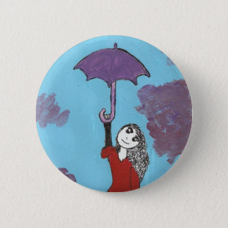 The Umbrella Girl 6 Cm Round Badge
