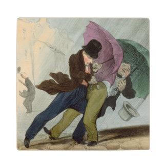 The Umbrella Trip, from 'Flibustiers Parisiens' Maple Wood Coaster