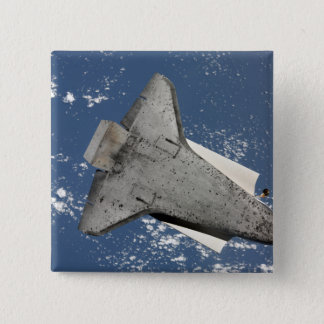 The underside of space shuttle Discovery 2 15 Cm Square Badge