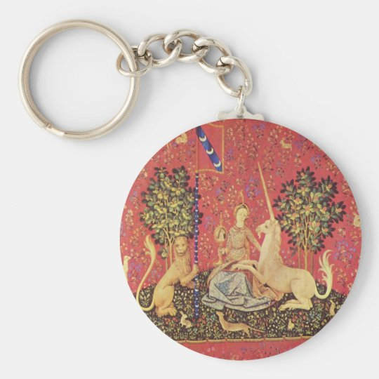 The Unicorn and Maiden Mediaeval Tapestry Image Basic Round Button Key Ring