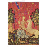 The Unicorn and Maiden Mediaeval Tapestry Image Greeting Cards