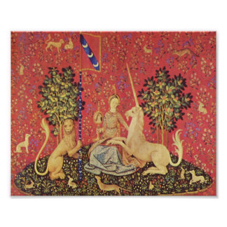 The Unicorn and Maiden Medieval Tapestry Image Poster