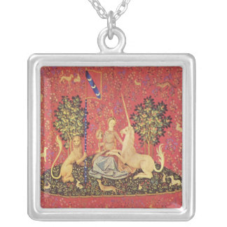 The Unicorn and Maiden Medieval Tapestry Image Silver Plated Necklace