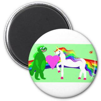 The Unicorn sees the Dinosaur 6 Cm Round Magnet