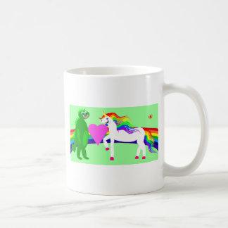 The Unicorn sees the Dinosaur Basic White Mug