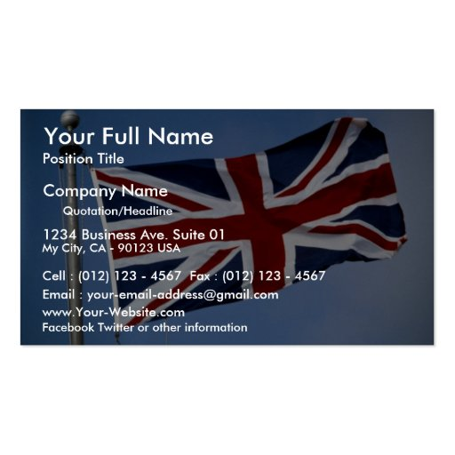 The union jack england pack of standard business cards for Union business cards