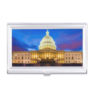 The United States Capitol at blue hour Business Card Holder