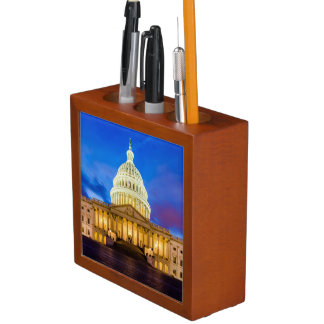 The United States Capitol at blue hour Desk Organiser