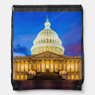 The United States Capitol at blue hour Drawstring Bag