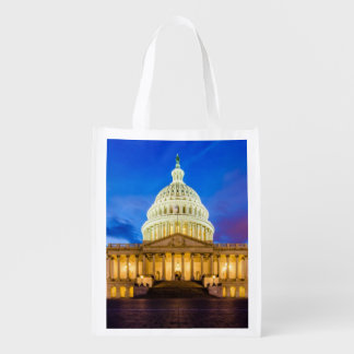 The United States Capitol at blue hour Reusable Grocery Bag