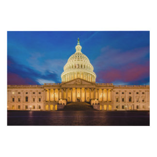 The United States Capitol at blue hour Wood Wall Art