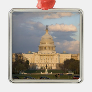 The United States Capitol Building in Silver-Colored Square Decoration