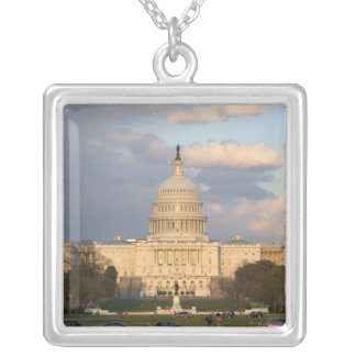 The United States Capitol Building in Silver Plated Necklace