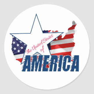 The United States Of America 4th of July Round Sticker