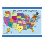 The United States of America States & Capitals Map Postcard