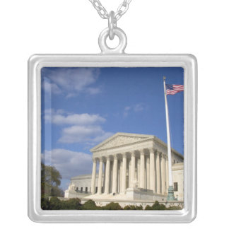 The United States Supreme Court Building in Silver Plated Necklace