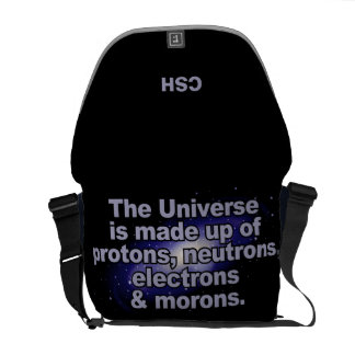 """The Universe"" custom monogram messenger bags"