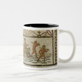 The unloading of a ship Two-Tone coffee mug