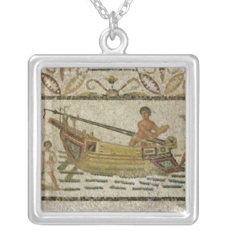 The unloading of a ship silver plated necklace