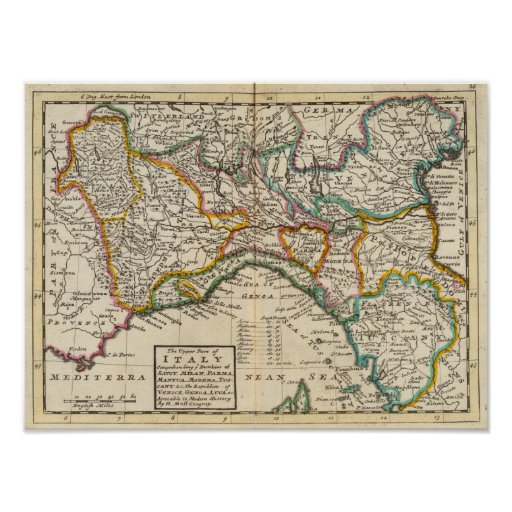 The upper part of Italy Print