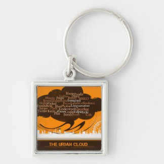 The Urban Cloud Silver-Colored Square Key Ring