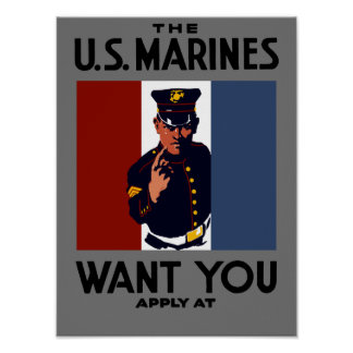 The US Marines Want You -- WWI Print