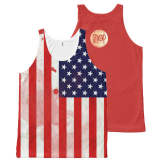 The USA Flag Unisex Grunge Series All-Over Print Tank Top