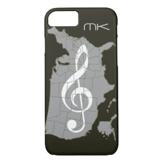 The USA map with a treble clef iPhone 7 Case