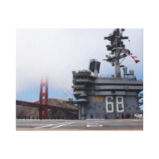 The USS Nimitz at the Golden Gate Stretched Canvas Print