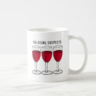 THE USUAL SUSPECTS WINE TRIO PRINT CLASSIC WHITE COFFEE MUG
