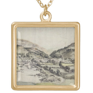 The Vale of Llangollen (w/c on paper) Square Pendant Necklace