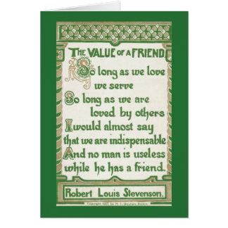 The Value of a Friend - Robert Louis Stevenson Card