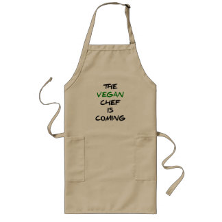 The vegan chef is coming long apron