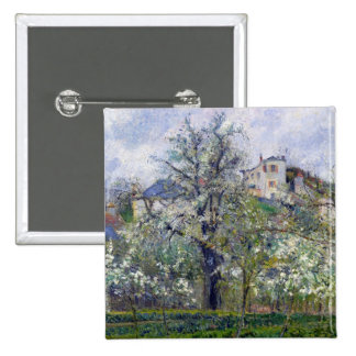 The Vegetable Garden with Trees in Blossom 15 Cm Square Badge