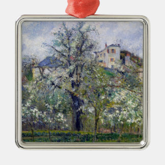 The Vegetable Garden with Trees in Blossom Silver-Colored Square Decoration