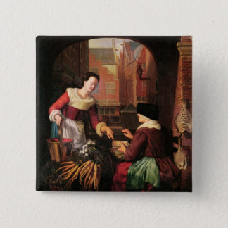 The Vegetable Seller 15 Cm Square Badge