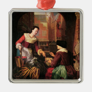 The Vegetable Seller Silver-Colored Square Decoration