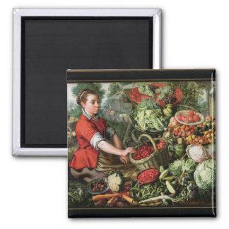The Vegetable Seller Square Magnet