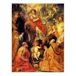 The veneration of the Eucharist by Jacob Jordaens Postcard