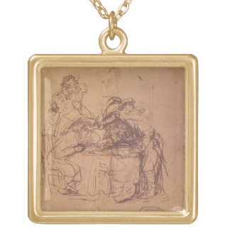 The Vices of the Prodigal Son (pen and ink on pape Gold Plated Necklace