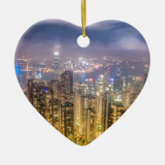 The view of Hong Kong from The Peak Ceramic Heart Decoration
