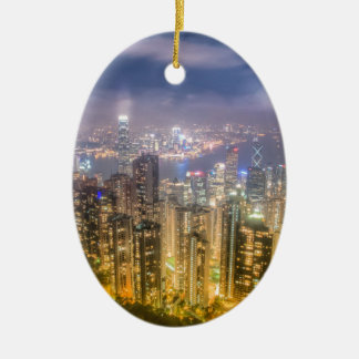 The view of Hong Kong from The Peak Ceramic Oval Decoration